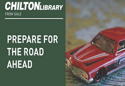 Red toy car captioned Chilton library Prepare for the road ahead