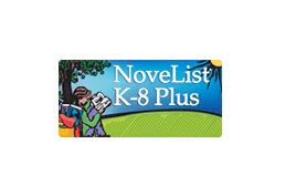 Cartoon girl reading under a tree.  NoveList K-8 Plus