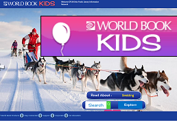 Dog sled picture captioned World Book Kids