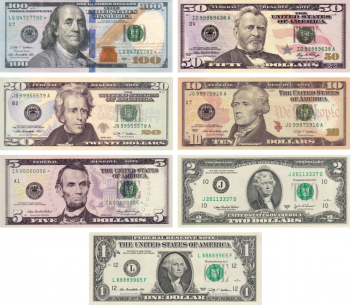Picture of various types of recent U.S. currency