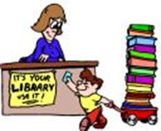 Boy checking out at library cartoon picture
