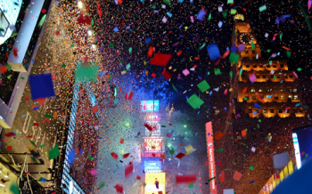 Confetti Falling in Time Square
