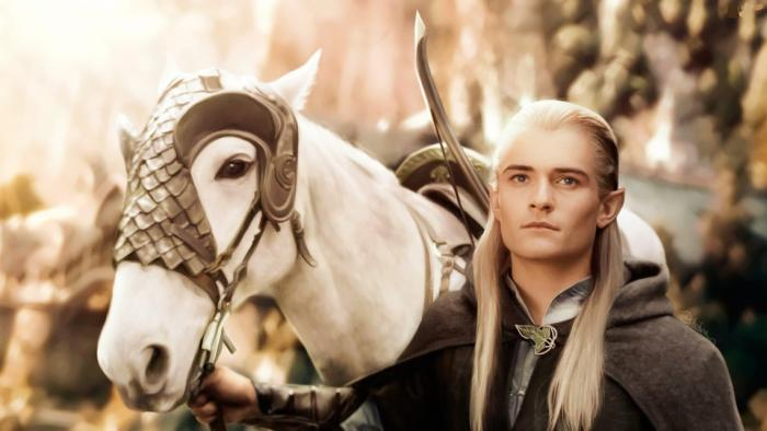 Painting of Legolas the elf with his horse from the Lord of the Rings movies